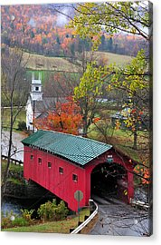 Covered Bridge-west Arlington Vermont Acrylic Print by Thomas Schoeller