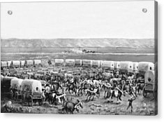 Covered Wagon Corral Acrylic Print by W. H. Jackson