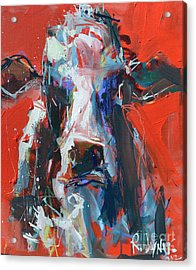 Cow On Red Acrylic Print by Robert Joyner