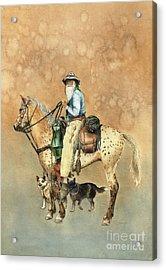 Cowboy And Appaloosa Acrylic Print