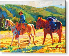 Cowboy Art Cowboy And Pack Horse Oil Painting Bertram Poole Acrylic Print by Thomas Bertram POOLE