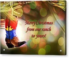 Cowboy Boot Christmas Acrylic Print