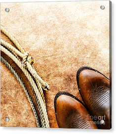Cowboy Boots And Lasso Acrylic Print by Olivier Le Queinec