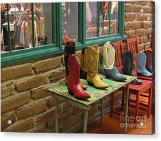 Acrylic Print featuring the photograph Cowboy Boots by Dora Sofia Caputo Photographic Art and Design