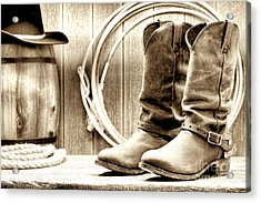 Cowboy Boots Outside Saloon Acrylic Print by Olivier Le Queinec