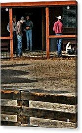 Cowboy Coffee Corner Acrylic Print by Barbara D Richards