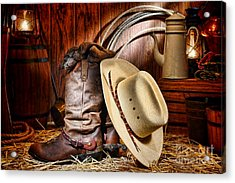 Acrylic Print featuring the photograph Cowboy Gear by Olivier Le Queinec
