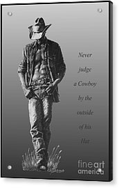 Acrylic Print featuring the drawing Cowboy Hat Verse by Marianne NANA Betts