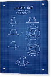 Cowboy Hat Patent From 1985 - Blueprint Acrylic Print by Aged Pixel