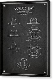 Cowboy Hat Patent From 1985 - Charcoal Acrylic Print by Aged Pixel