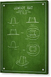 Cowboy Hat Patent From 1985 - Green Acrylic Print by Aged Pixel
