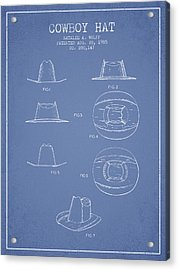 Cowboy Hat Patent From 1985 - Light Blue Acrylic Print by Aged Pixel