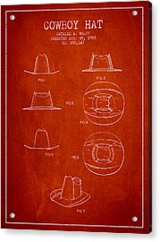 Cowboy Hat Patent From 1985 - Red Acrylic Print by Aged Pixel