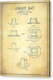 Cowboy Hat Patent From 1985 - Vintage Acrylic Print by Aged Pixel