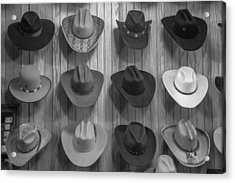 Cowboy Hats On Wall In Nashville  Acrylic Print by John McGraw