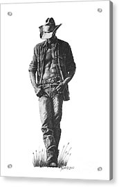Acrylic Print featuring the drawing Cowboy by Marianne NANA Betts