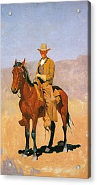 Cowboy Mounted On A Horse Acrylic Print by Frederic Remington