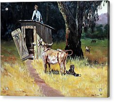 Cowboy On The Outhouse  Acrylic Print