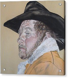 Cowboy Pastel Acrylic Print by Ann Marie Chaffin