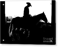 Acrylic Print featuring the photograph Cowboy Rides Home In Silhouette by Lincoln Rogers