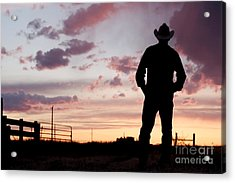 Cowboy Sunset Acrylic Print by Cindy Singleton