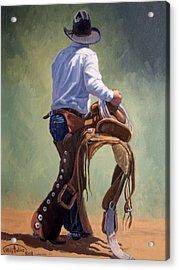 Cowboy With Saddle Acrylic Print by Randy Follis