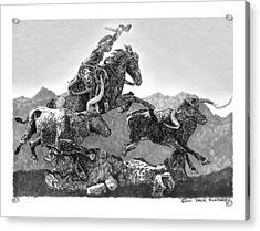 Cowboys And Longhorns Acrylic Print by Jack Pumphrey