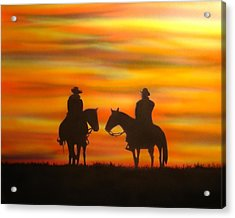 Cowboys At Sunset Acrylic Print