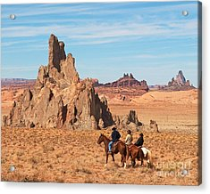 Cowboys Acrylic Print by Bob and Nancy Kendrick