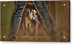 Cowgirl And Cowboy Acrylic Print by Susan Candelario