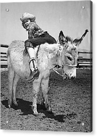 Cowgirl Backwards On A Donkey Acrylic Print by Underwood Archives