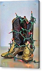 Cowgirl Christmas Acrylic Print by Kenny Francis