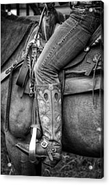 Cowgirl In Black And White Acrylic Print