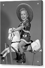 Cowgirl On Rocking Horse, C.1950s Acrylic Print