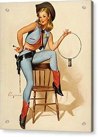 Cowgirl Pin-up Girl Acrylic Print by Gil Elvgren