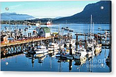 Cowichan Bay Marina  Bc Acrylic Print by Claudette Bujold-Poirier