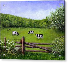 Cows In The Pasture Acrylic Print by Sandra Estes