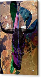 Acrylic Print featuring the digital art Cowskull Over The Canyon by Cathy Anderson