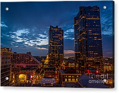 Cowtown At Night Acrylic Print