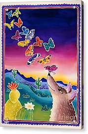 Coyote And The Laughing Butterflies Acrylic Print by Harriet Peck Taylor