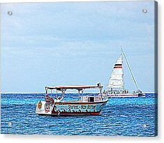 Acrylic Print featuring the photograph Cozumel Excursion Boats by Debra Martz
