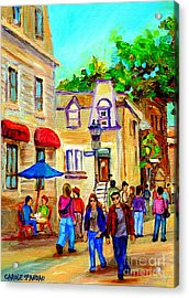 Cozy Dinner Under Blue Umbrella Summer Stroll Prince Arthur Montreal Paintings Carole Spandau Acrylic Print by Carole Spandau