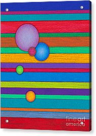 Cp003 Stripes With Circles Acrylic Print by David K Small