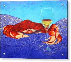 Crab And Chardonnay Acrylic Print by Nancy Jolley