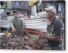 Crabbers At Popotla Acrylic Print by Hugh Smith