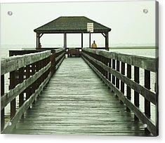 Crabbing Pier Acrylic Print by John Wartman