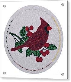Cradleboard Beadwork Winter Cardinal Acrylic Print