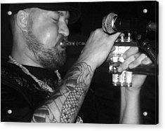 Craig Sorrells Trumpet And Tatoo Acrylic Print by Cleaster Cotton