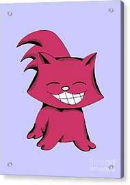 Acrylic Print featuring the drawing Cranberry Cat Giggling by Pet Serrano