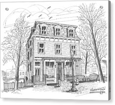 Acrylic Print featuring the drawing Cranberry's Cafe Circa 1884 by Richard Wambach